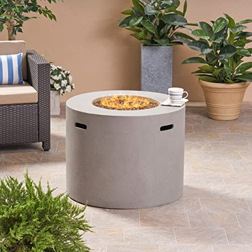 Great Deal Furniture Leo Outdoor 31″ Round Light Weight Concrete Gas Burning Fire Pit