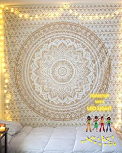 THE ART BOX Mandala Tapestry Wall Hanging Bedroom Decor Trippe Room Decor Boho Wall Tapestry Psychedelic Tapestry with Lights