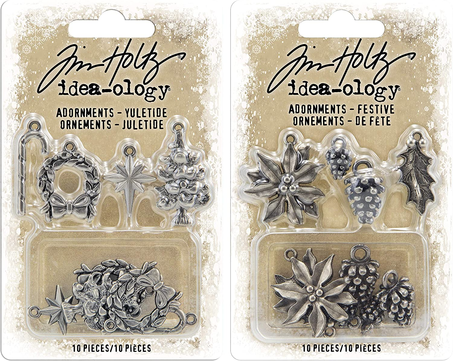 Yuletide and Festive 2 Packages of Seasonal Charms Tim Holtz 2019 Holiday Adornments