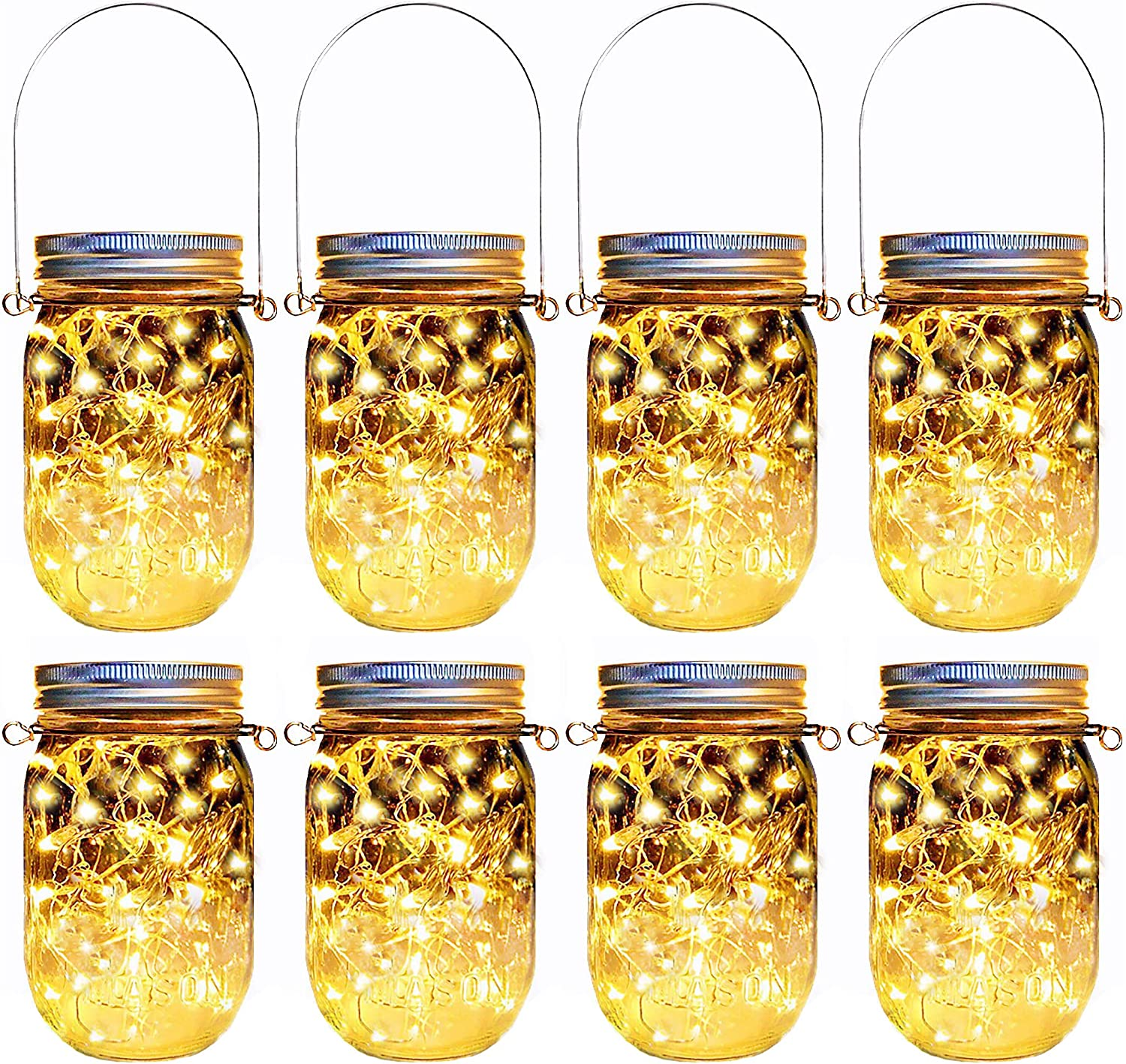 Solar Mason Jar Lights,8 Pack 30 Led Hanging String Fairy Jar Solar Lantern Lights for Outdoor Patio Garden Yard and Lawn Decoration(Hangers and Jars Included)