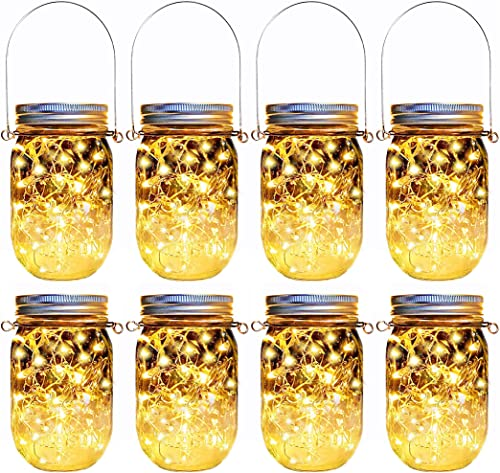 Solar Mason Jar Lights,8 Pack 30 Led Hanging String Fairy Jar Solar Lantern Lights for Outdoor Patio Garden Yard and Lawn Decoration Hangers and Jars Included