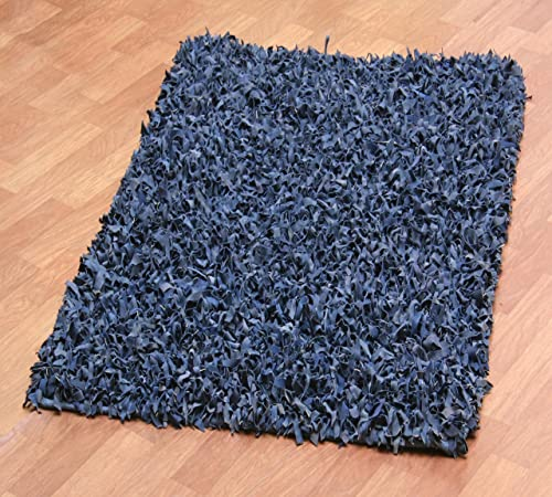 Blue Leather Shag 30 x50 Rug