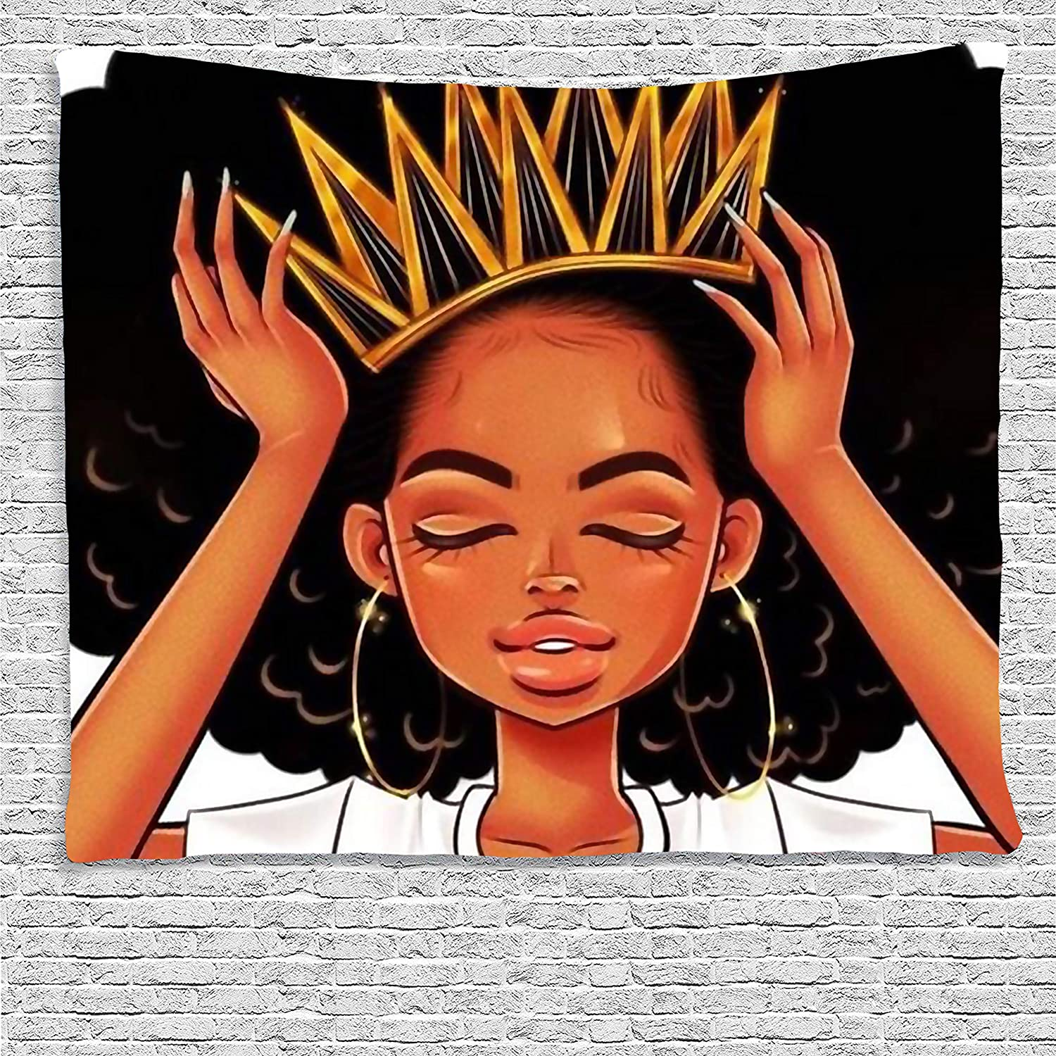 SARA NELL Black Art Wall Tapestry Hippie Art African American Women Girl with Crown Tapestries Wall Hanging Throw Tablecloth 50X60 Inches for Bedroom Living Room Dorm Room