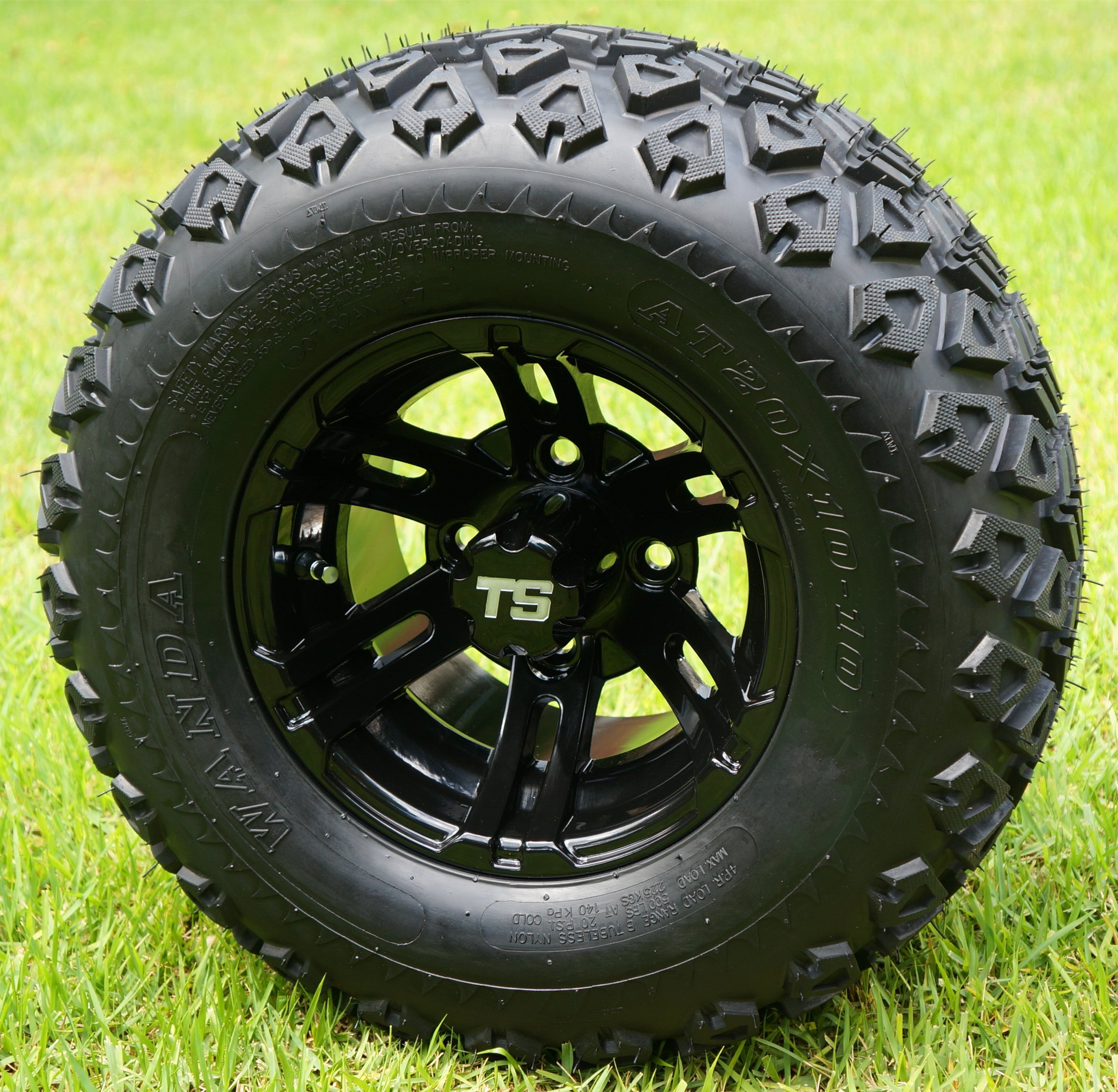 10'' BULLDOG Black Wheels and 20x10-10 DOT All Terrain Golf Cart Tires - Set of 4