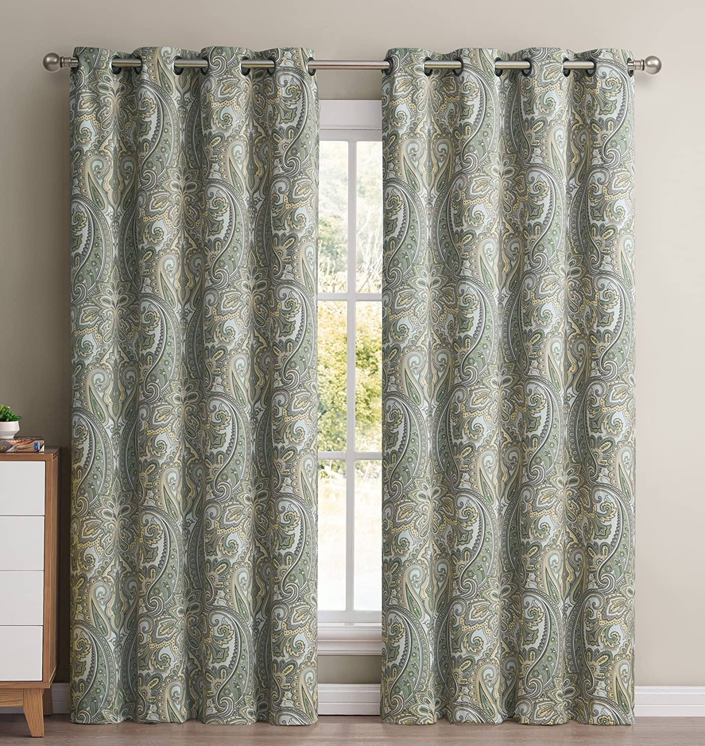 HLC.ME Paris Paisley Damask Thermal Blackout Grommet Window Curtain Panels