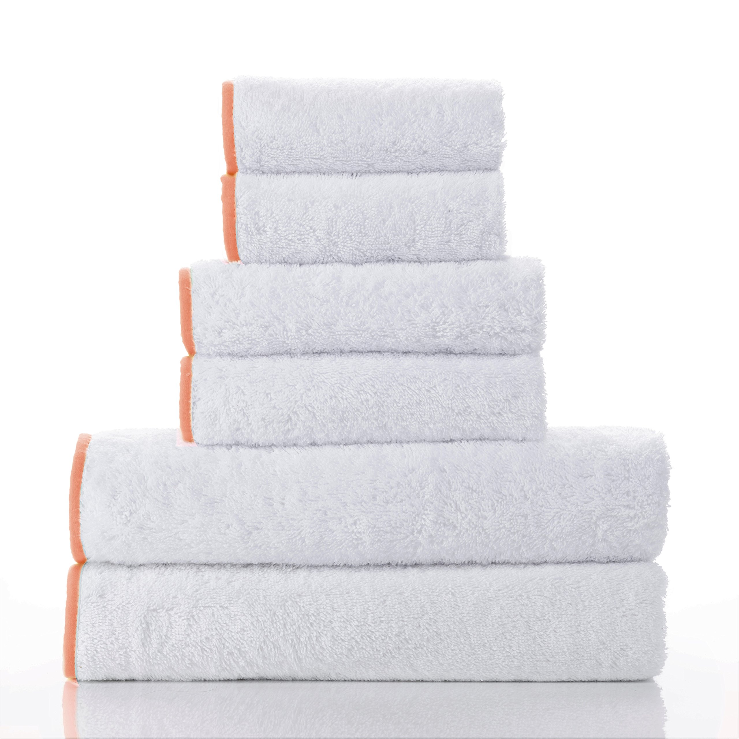 Macouba Bathroom Towel Set by Superior Quality 600GSM White Cotton Bath Towel Set with Coral Border/Trim| Soft, Ultra Absorbent Luxury Spa/Hotel Towel Pack of 2 Bath Towels, 2 Hand, 2 Face Washcloths