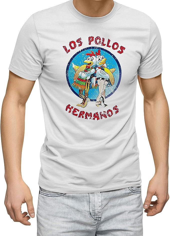 Breaking Bad Los Pollos Hermanos Vintage Retro Blanco Camiseta para Hombre: Amazon.es: Ropa y accesorios
