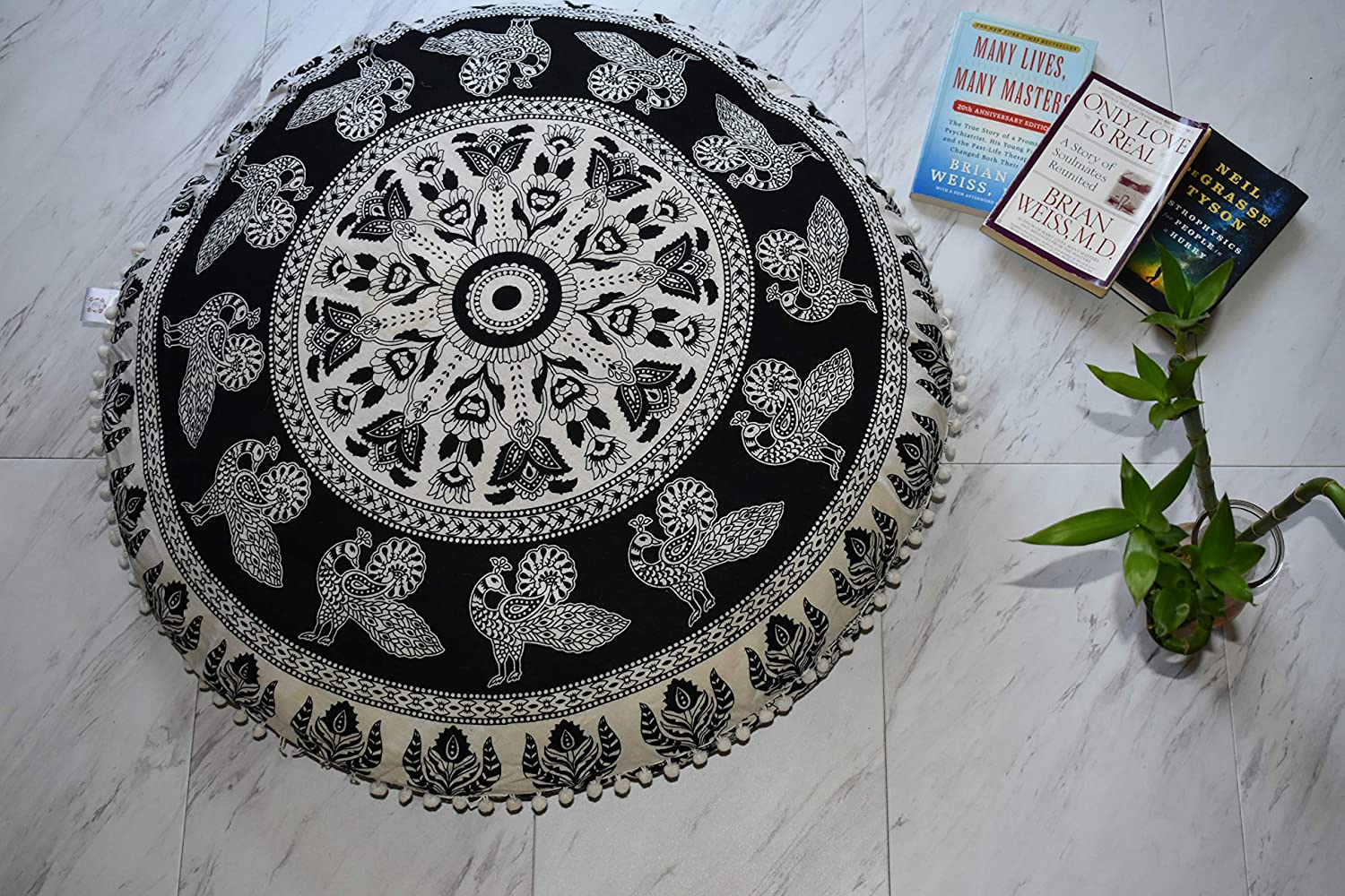 Black /& White Elephants Large 32 Inch Floor Pillow Level Up Retail Meditation Pillow Cushion Included