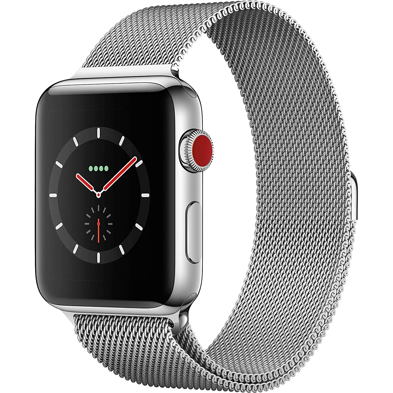 Apple Watch Series 3 42mm Smartwatch (GPS + Cellular, Silver Stainless Steel Case, Stainless Steel Milanese Band) (Renewed)