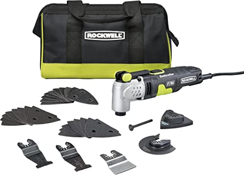 Rockwell RK5142K 4.0 Amp Sonicrafter F50 Oscillating Multi-Tool, with Variable Speed, Hyperlock Clamping, Vibrafree Technology, and Universal Fit System, 33-Piece Kit with Case