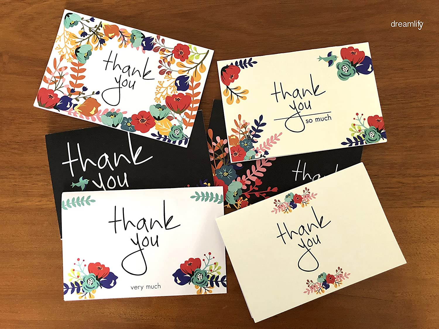 Amazon Thank You Cards 36 Floral Bulk Thank You Note Cards