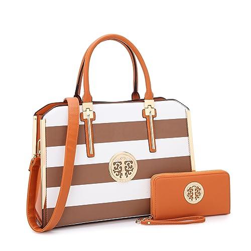 287cb7e20692 MMK Fashion Handbag for Women Classic Satchel handbag Designer Top handle  purse Trending Hobo Tote bag 2 pieces(Handbag wallet) Set (B-7555-W-CF WT)   ...