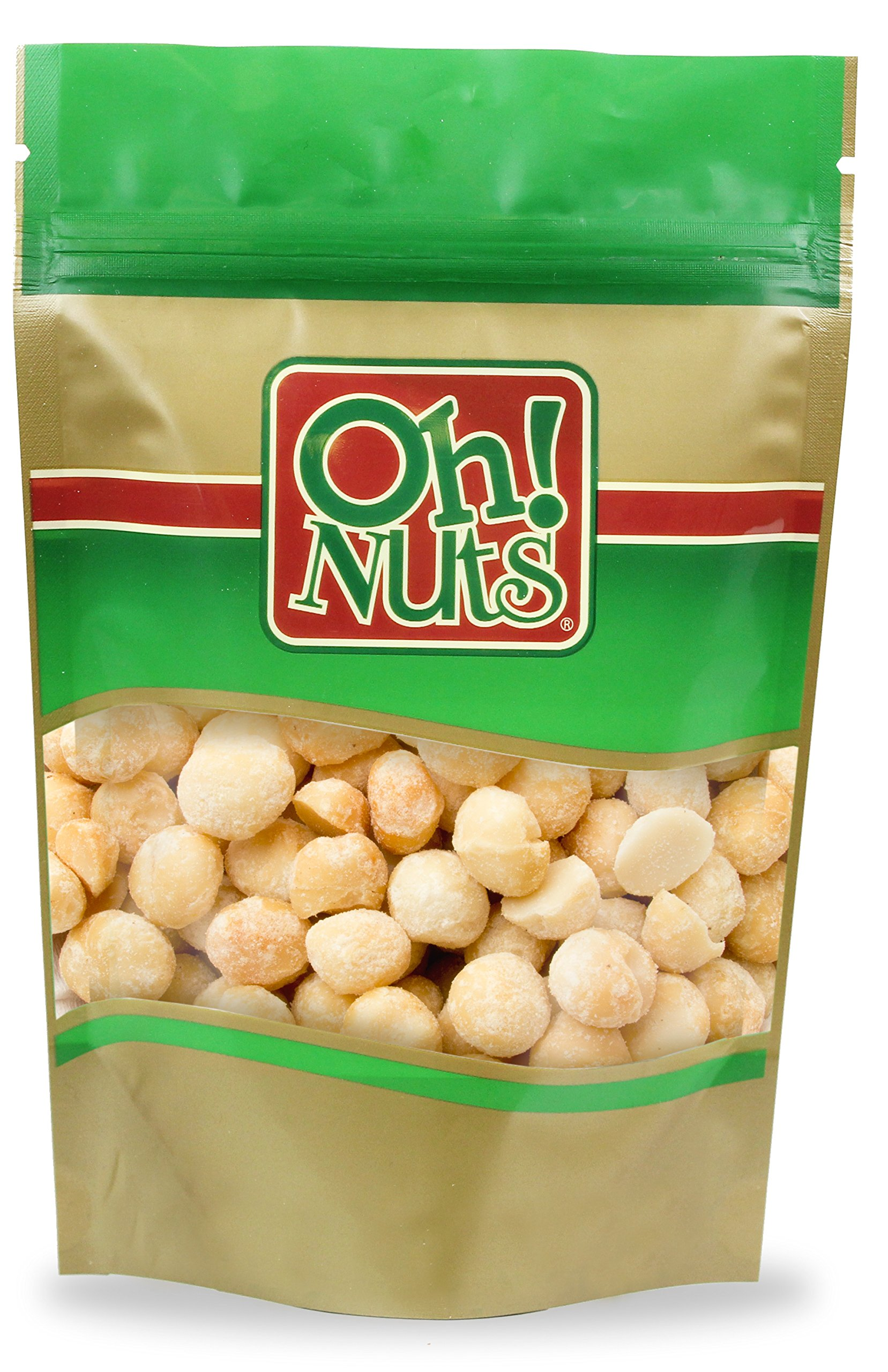 Macadamia Nuts Unsalted Dry Roasted, Large Macadamias Oven Roasted with NO OIL and NO SALT - Oh! Nuts (1 LB Roasted Unsalted Macadamia Nuts) by Oh! Nuts® (Image #1)