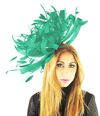 Hats By Cressida Ladies Large Sinamay   Feather Ascot Kentucky Derby ... 371886e2f5cd