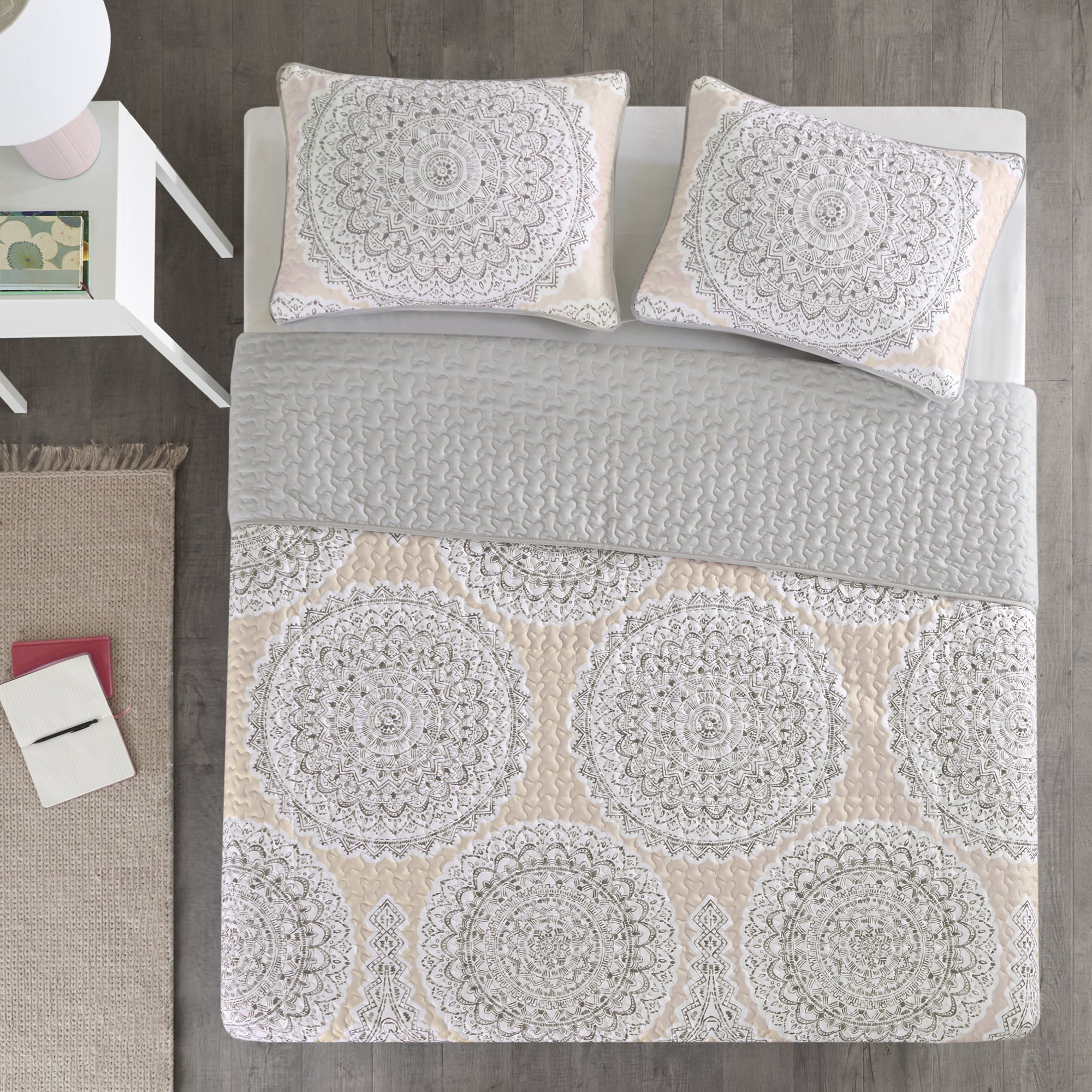 Bedding Sets Twin & Twin Xl - Quilt/Coverlet Set - 2 Pieces - Blush/Pink/Grey - Printed Medallions - Lightweight Twin Size Bedding Sets For Girls - Bedspread Fits Twin & Twin Xl - Adele by Comfort Spaces (Image #6)