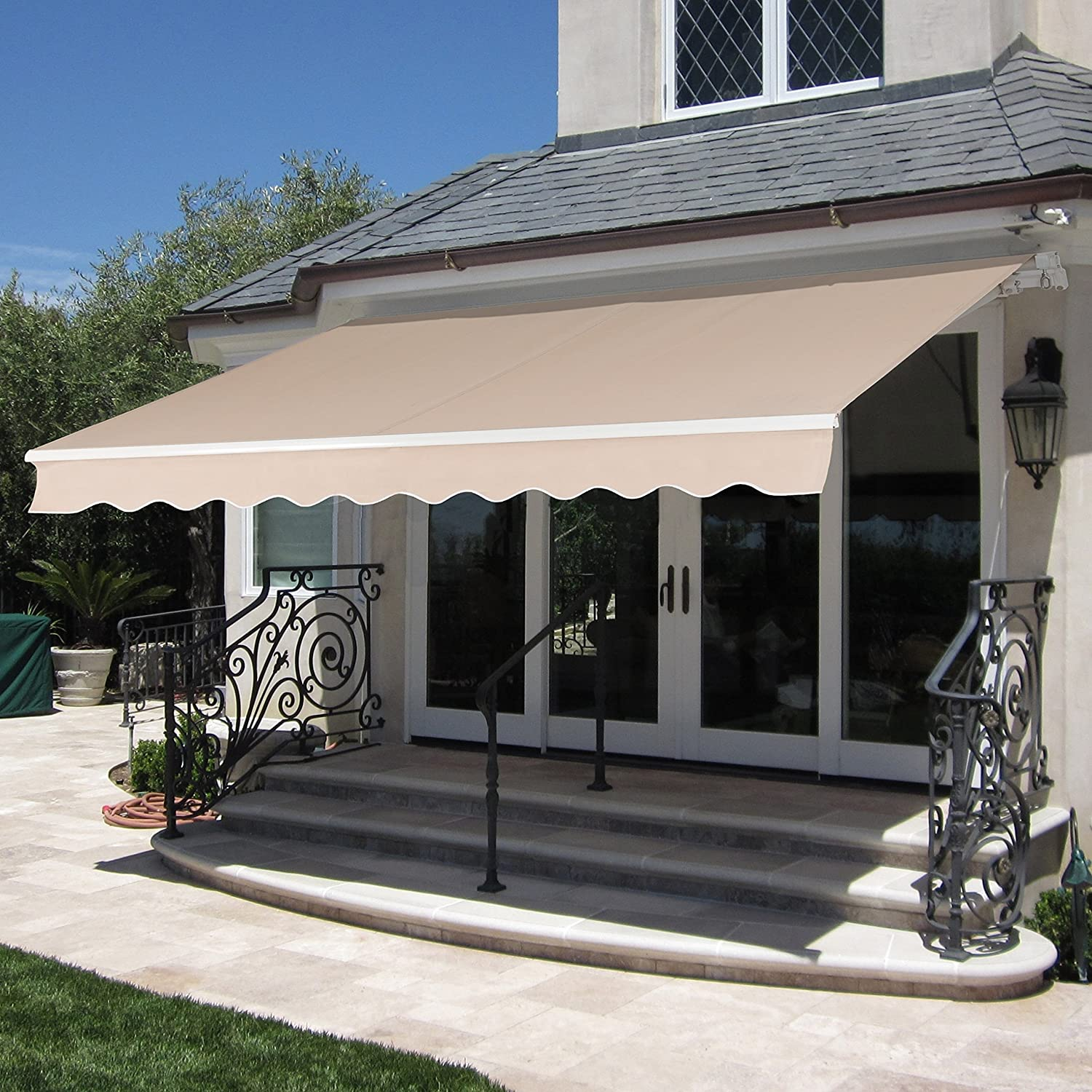 Best Choice Products Patio Manual Patio 8.2u0027x6.5u0027 Retractable Deck Awning  Sunshade Shelter Canopy Beige