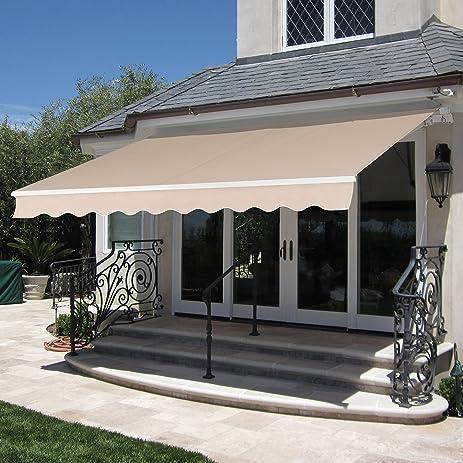 Best Choice Products Patio Manual Patio 8.2u0027x6.5u0027 Retractable Deck Awning  Sunshade