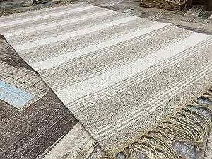 Algodón Natural y Yute Color Gris Blanco Rayas Alfombra 120 cm x 180 cm: Amazon.es: Hogar