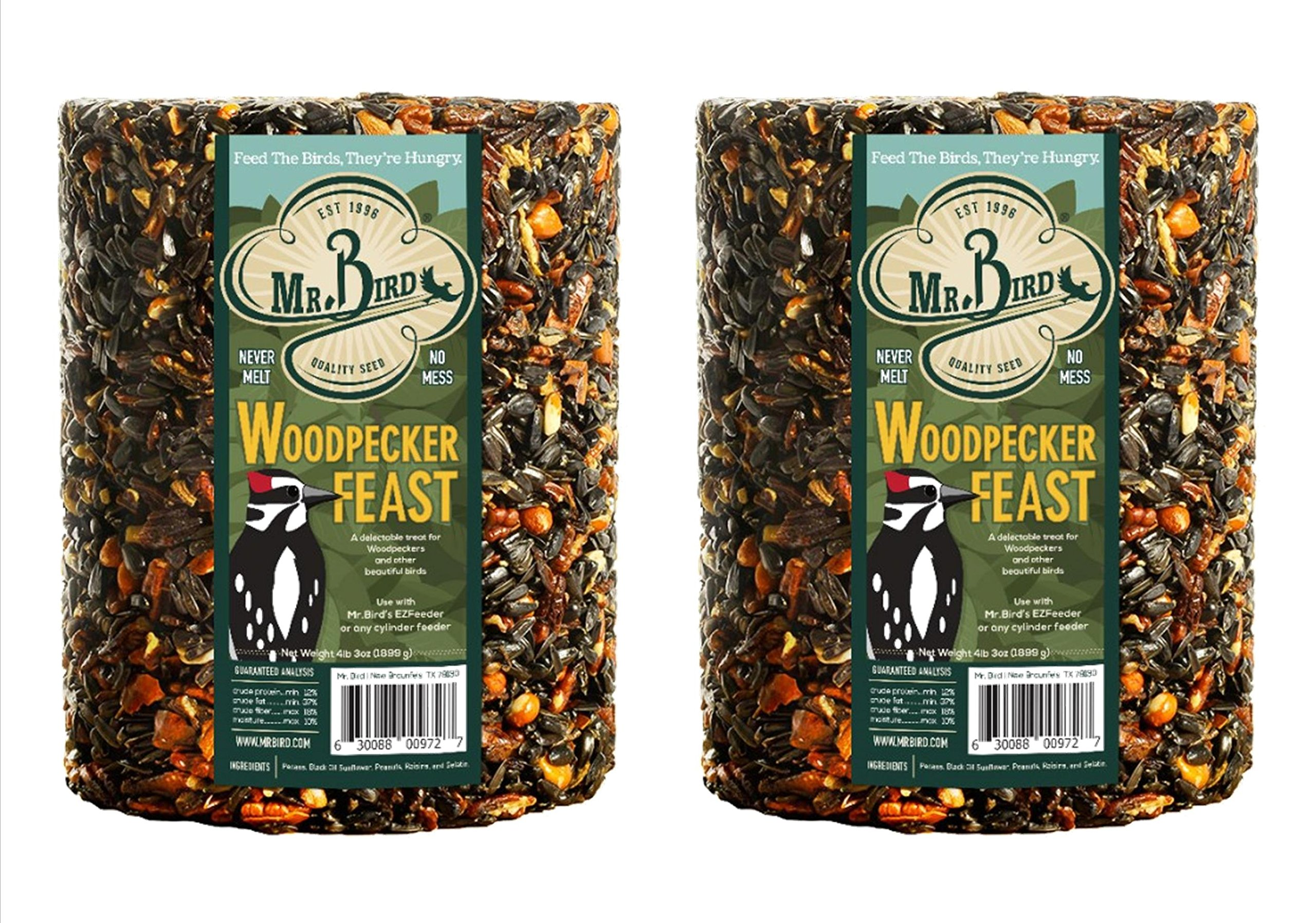 2-Pack of Mr. Bird Woodpecker Feast Large Wild Bird Seed Cylinder 4 lbs. 2 oz.
