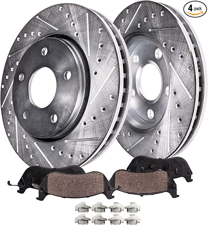 Fits: 2007 07 2008 08 2009 09 Volvo S80 V8 Models w//336mm Front Rotors and Rear Vented Rotors TA108233 Premium Slotted Drilled Rotors + Metallic Pads Max Brakes Front /& Rear Performance Brake Kit