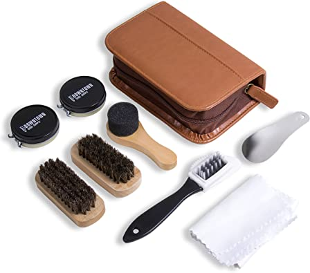 New KIWI Leather Care Travel Kit Black /& Brown Shoe Boot Polish Shine Brush