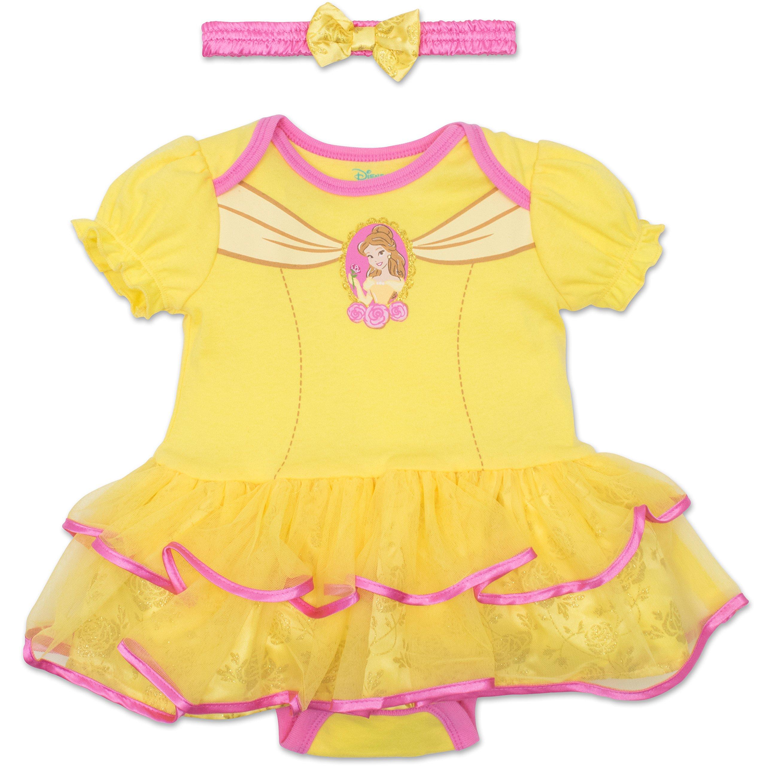 Disney Princess Belle Baby Girls' Costume Tutu Dress Bodysuit and Headband - Yellow, 12 Months