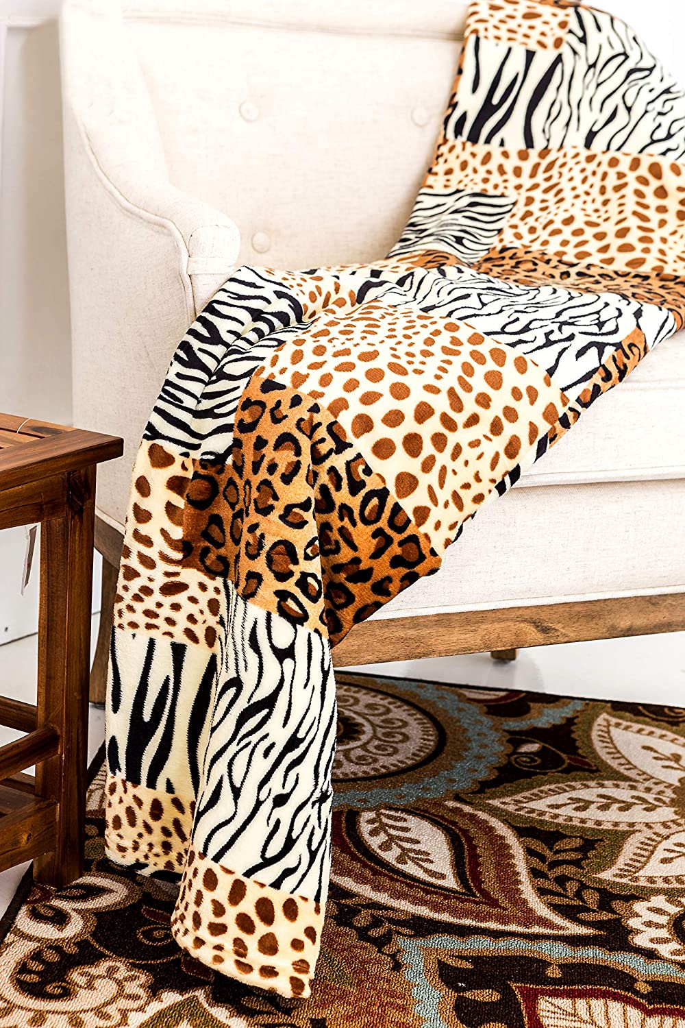 Home Must Haves Zebra Leopard Giraffe Safari Animal Print All Season Extra Soft Warm Sofa Couch Throw Bed Blanket King Size (Queen