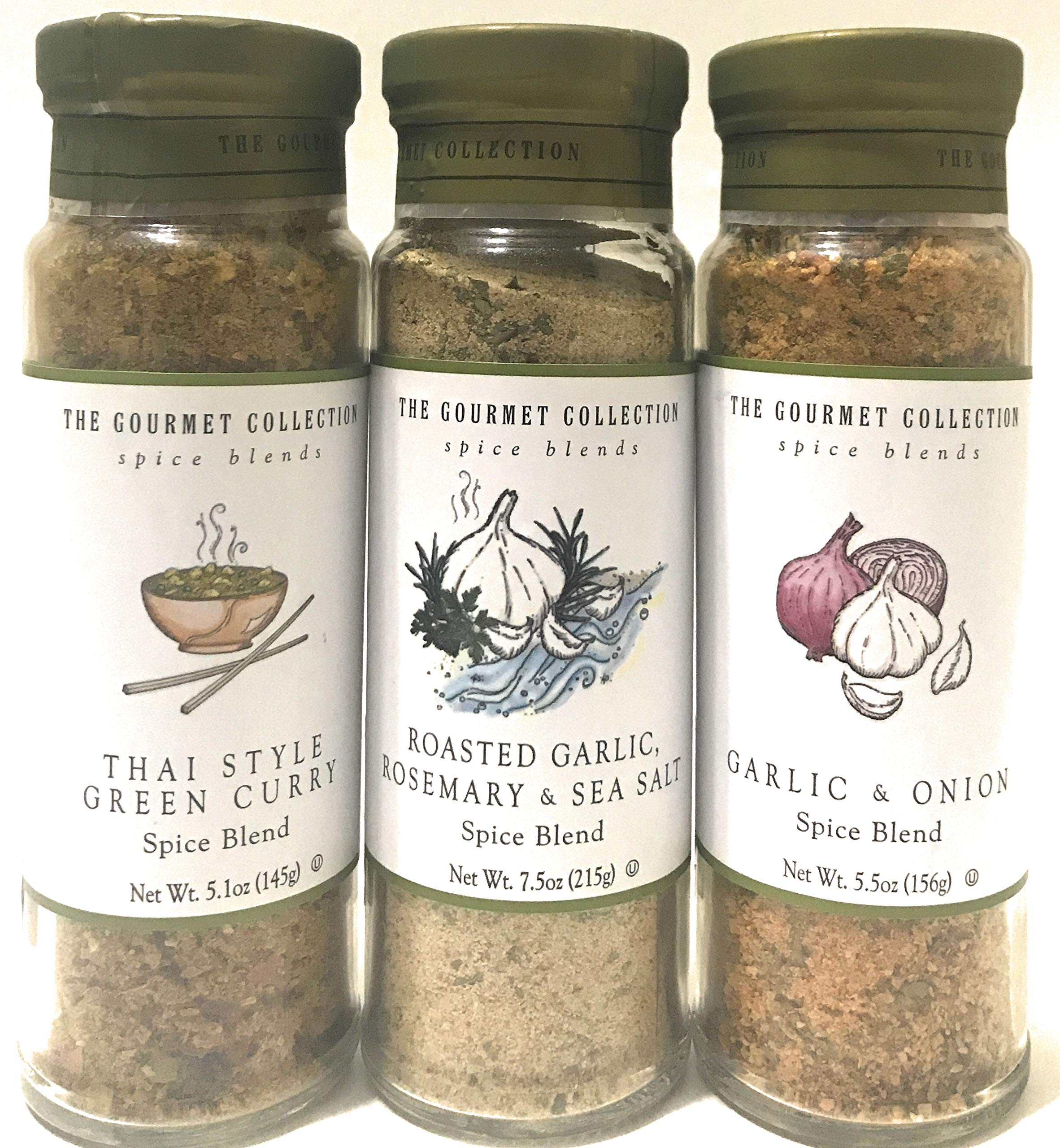 Thai Style Green Curry; Garlic and Onion Spice Blend; Roasted Garlic, Rosemary, Sea Salt; Garlic & Onion Spice Blend, 3 Bottle Set
