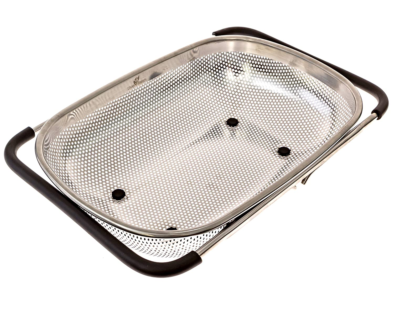 LiveFresh Over the Sink Micro-perforated Stainless Steel 4-Quart Colander with Non-Slip Handle Grips and Rubber Feet - Handles Extend to Fit Any Sink LF2017COX
