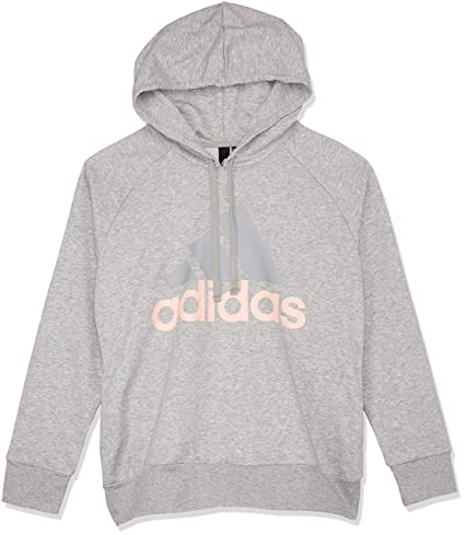 adidas ESS Lin Oh HD Sudadera, Mujer, Gris (Medium Heather/Haze Coral