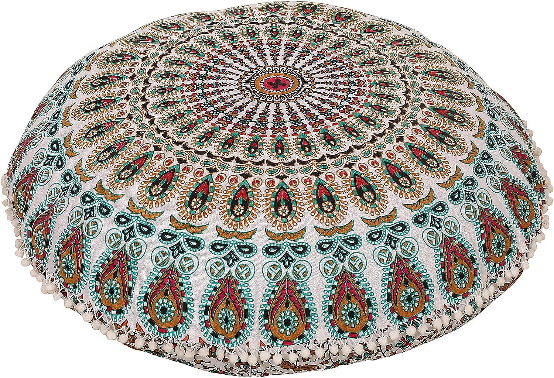 Anokhiart Pink Brown Multi Indian Mandala Round Floor Pillow Cushion Decorative Throw Pillowcases 32 Boho Pouf Cover Pom Pom Pillow Shams Outdoor Cushion Cover Home Kitchen