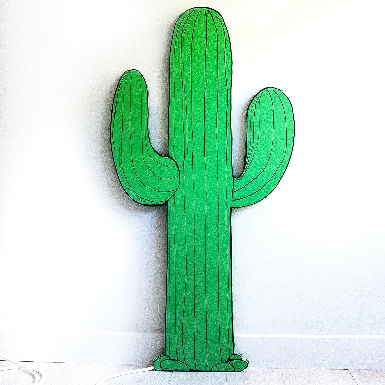 LÁMPARA CACTUS GRANDE. (Desde 80 a 150 cm alto) Hecha a mano con tamaños y color personalizado. Con tira led en blanco cálido y verde.