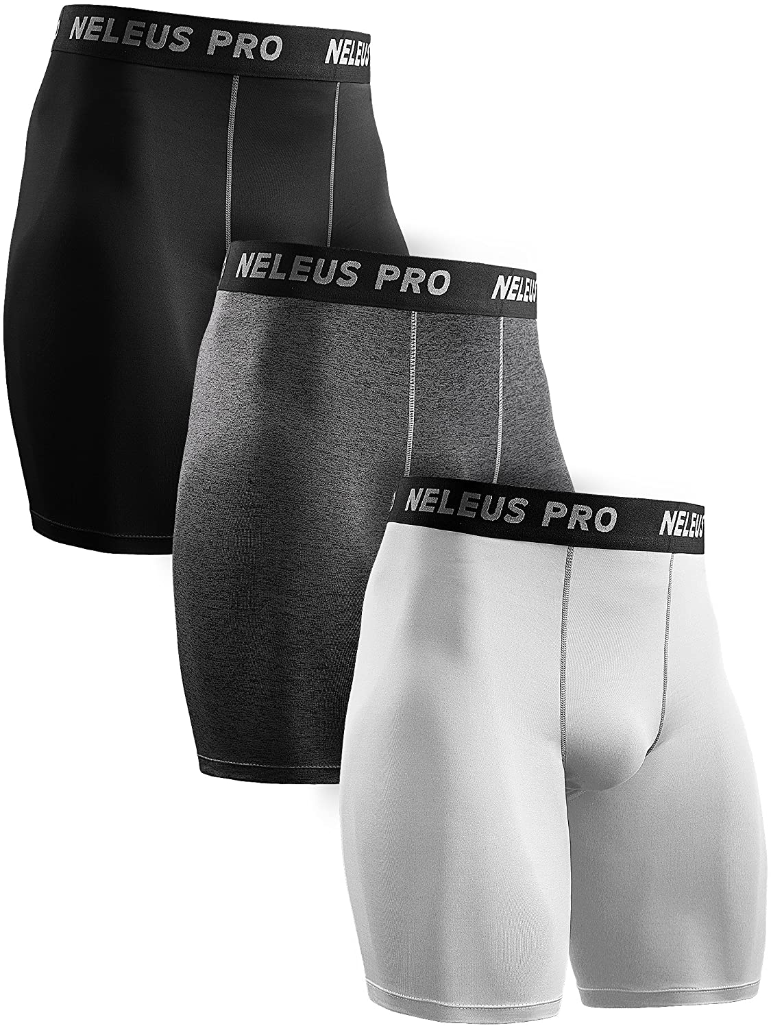 Neleus Men's 3 Pack Performance Compression Shorts,146,Black,Grey,White,X-Large DK0146B+H+W2XL#3