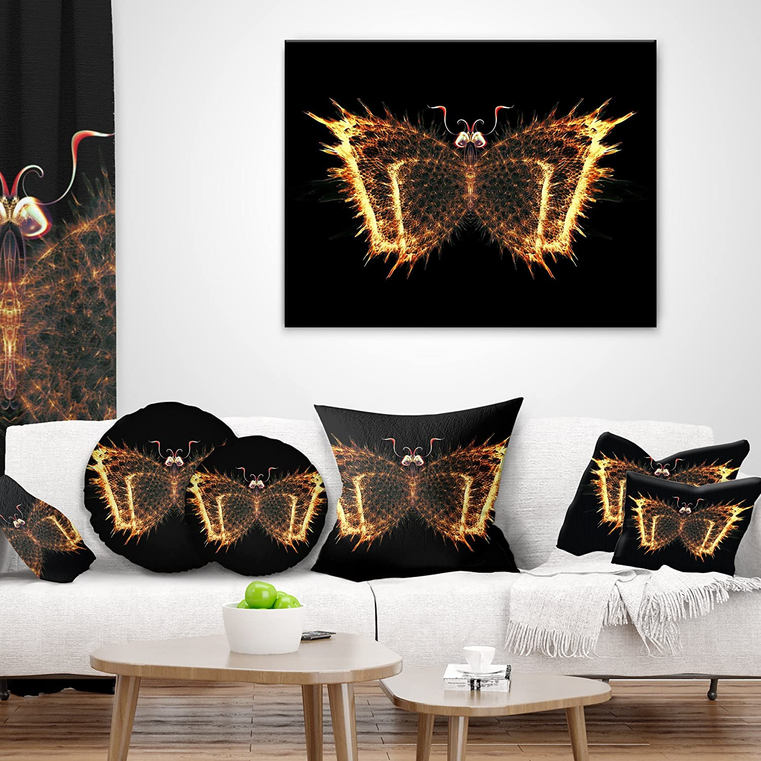 x 26 in in Insert Printed On Both Side Designart CU8653-26-26 Fire Fractal Butterfly in Dark Abstract Cushion Cover for Living Room Sofa Throw Pillow 26 in