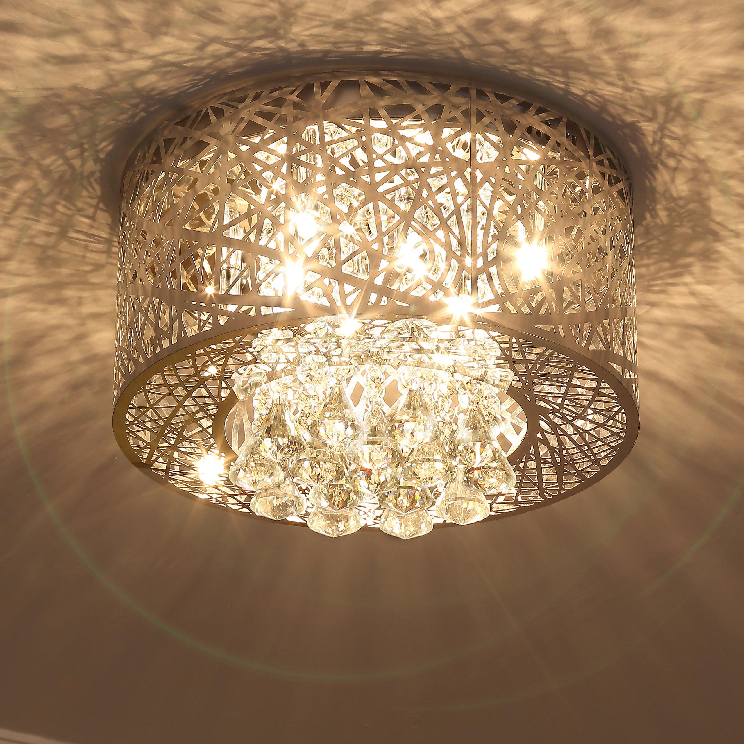 Saint Mossi Modern K9 Crystal Raindrop Chandelier Lighting Flush Mount Led Ceiling Light Fixture Pendant Lamp For Dining Room Bathroom Bedroom Livingroom 8