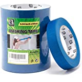 QUASSI Sharp Lines Blue Painters Tape, 6 Rolls No Residue Blue Masking Tape for Carefree Painting, Labeling, Drafting, 0.94 I