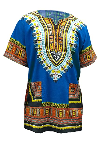 2036b2a7d4e44 Amazon.com  Blue African Print Dashiki Shirt from S to 7XL Plus Size   Clothing