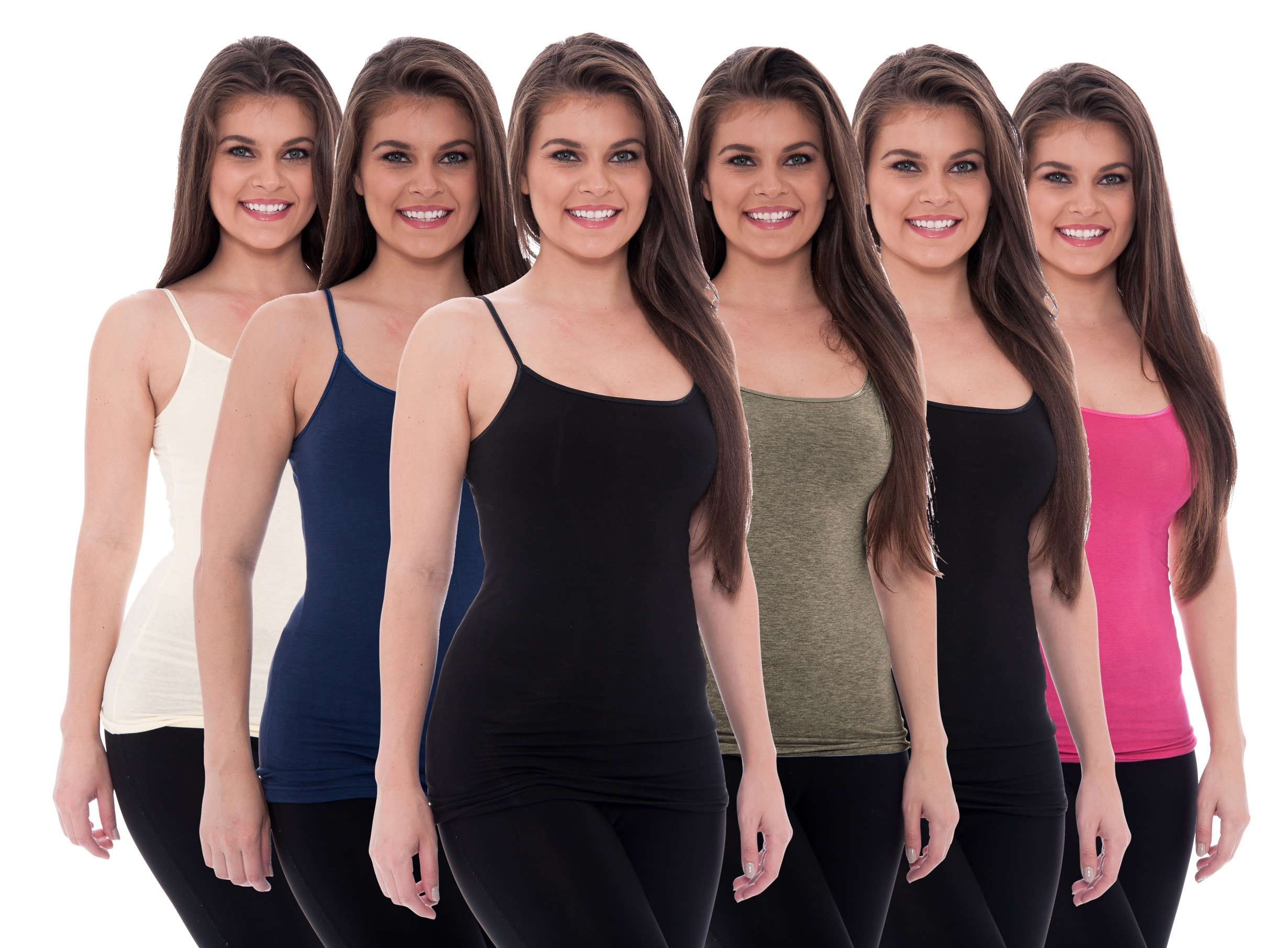 Unique Styles 6 Pack Women's Tanks Tops Adjustable Spaghetti Strap Cotton Cami (X-Large, 2 Black, Pink, White, Navy, Grey) by Unique Styles
