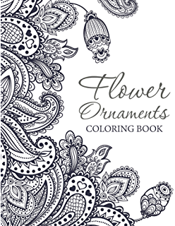Flower Ornaments Adult Coloring Book Art Series
