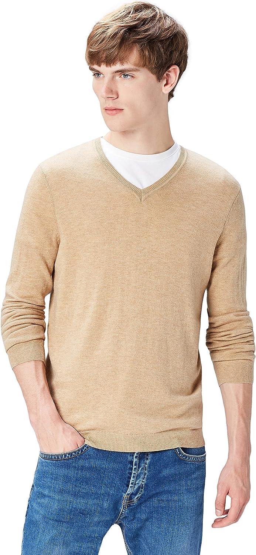 Marca Amazon - find. Jersey con Cuello de Pico para Hombre