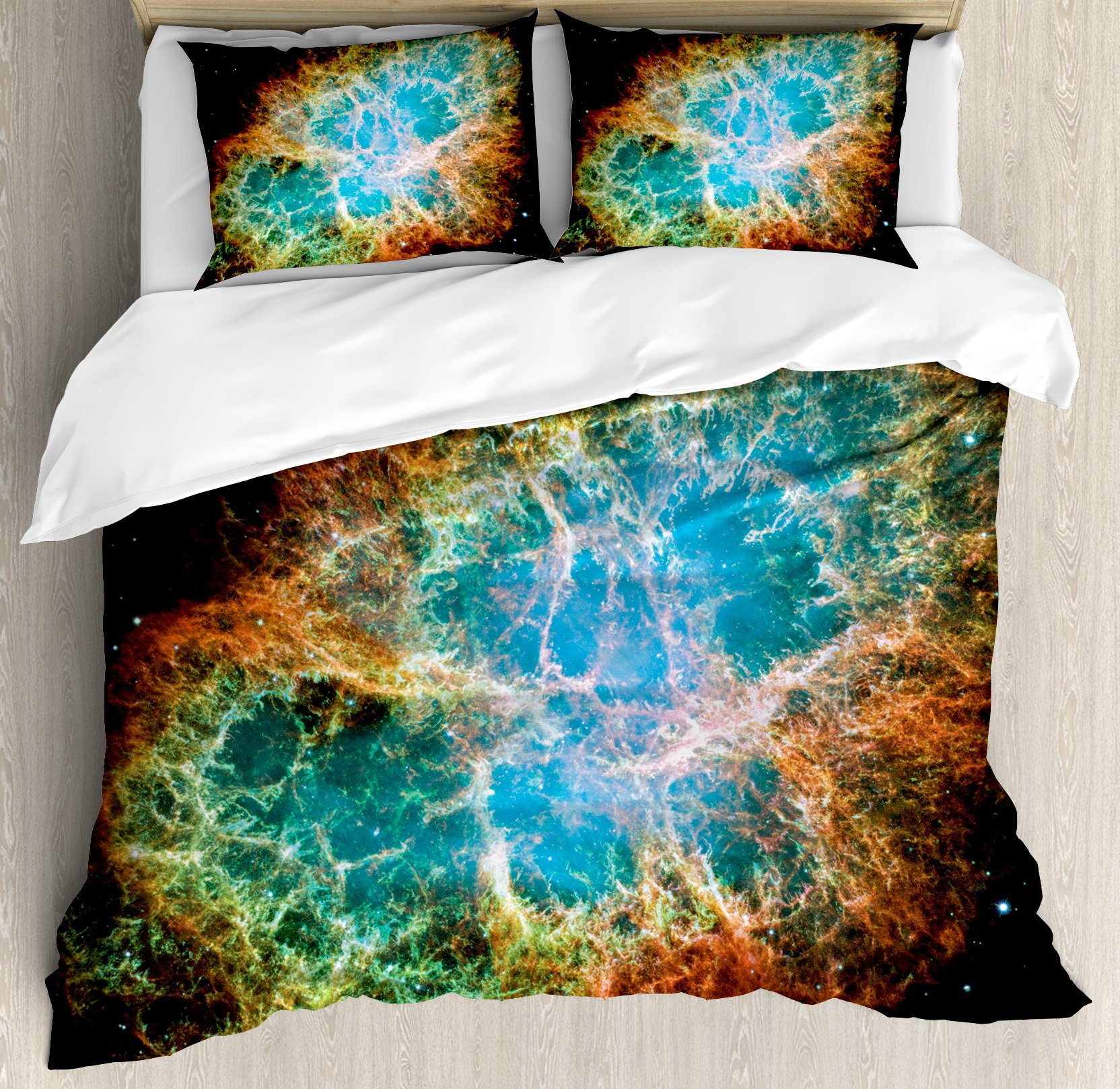 Ambesonne Space Decorations Duvet Cover Set by, Image of Crab Nebula in Early Age Clean Version of Original Print Home Decor, 3 Piece Bedding Set with Pillow Shams, Queen/Full, Black Teal Orange