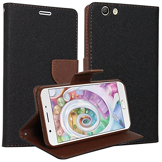 Classico Luxury Mercury Wallet Card Dairy Slot Style Flip Cover Compatible  for Oppo F3 (Black, Brown)