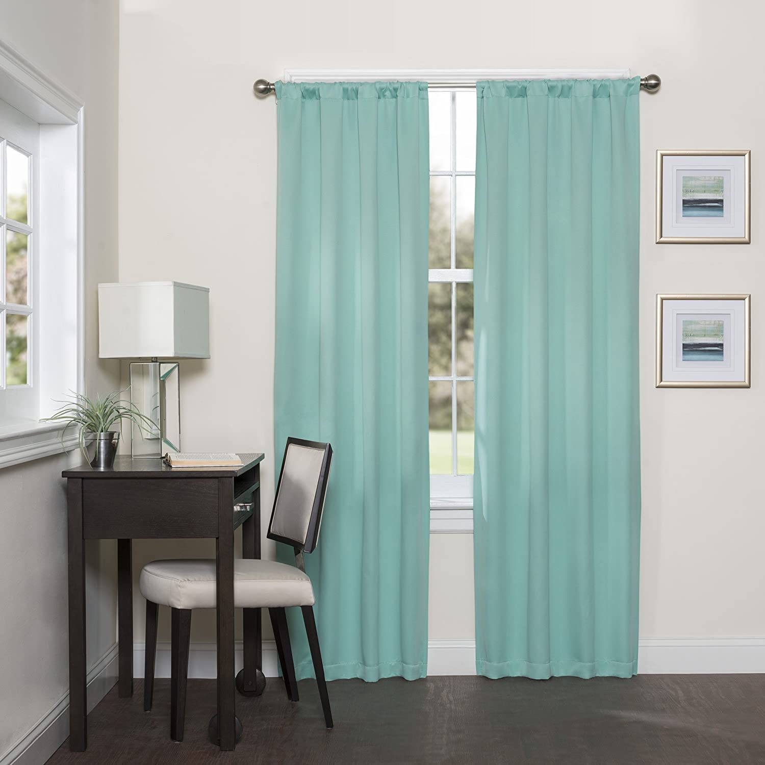 """ECLIPSE Room Darkening Curtains for Bedroom - Darrell 37"""" x 84"""" Thermal Insulated Single Panel Rod Pocket Light Blocking Curtains for Living Room, Mint"""