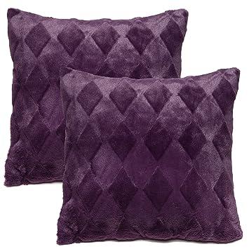 Amazon Chanasya Super Soft Elegant Faux Fur Diamond Shape Stunning Aubergine Decorative Pillows