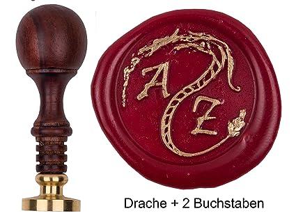 Siegel Stempel Petschaft Gothic 24 mm 2 Initialen 8,2 cm
