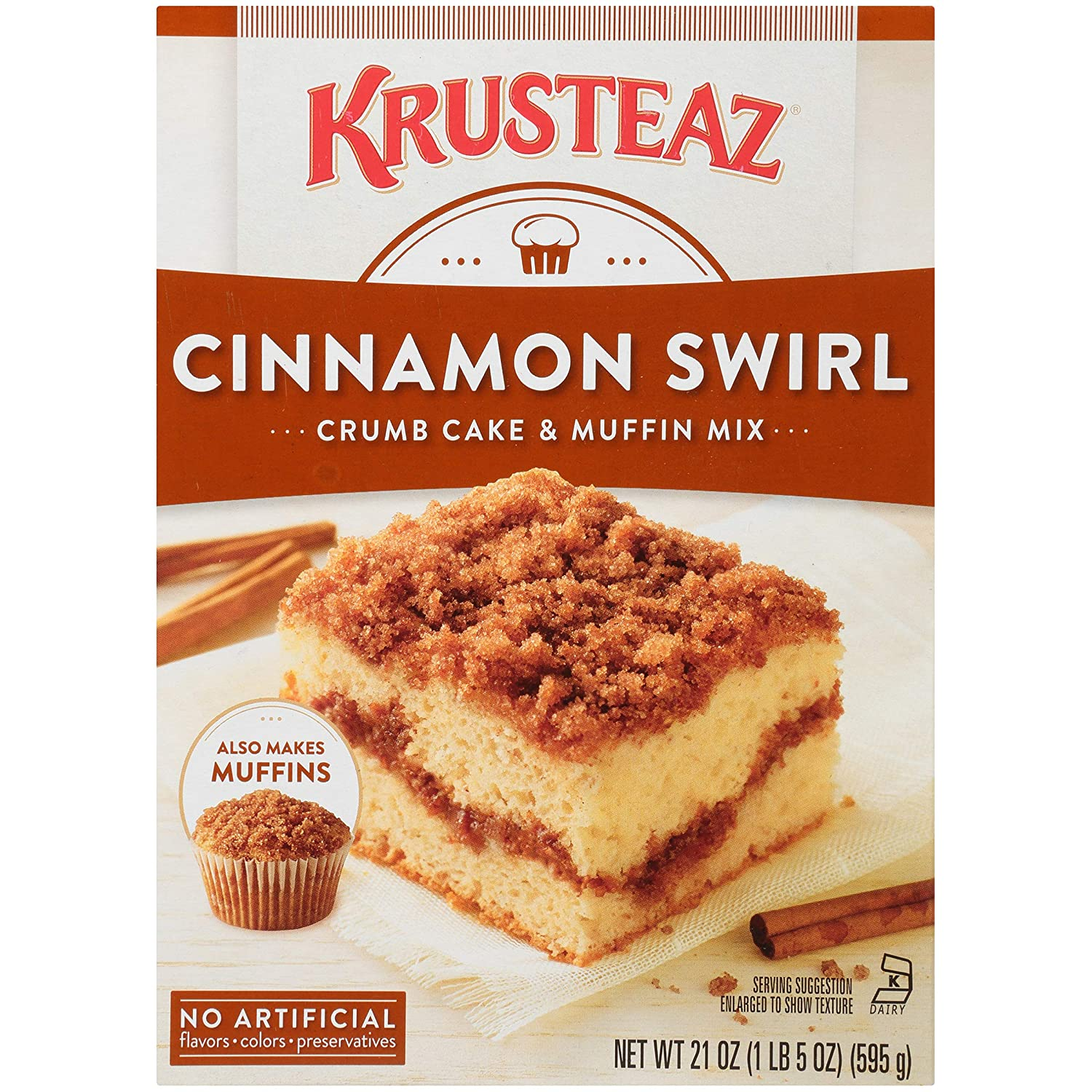 Krusteaz Cinnamon Swirl Crumb Cake and Muffin Mix, 21-Ounce Boxes (Pack of 4)