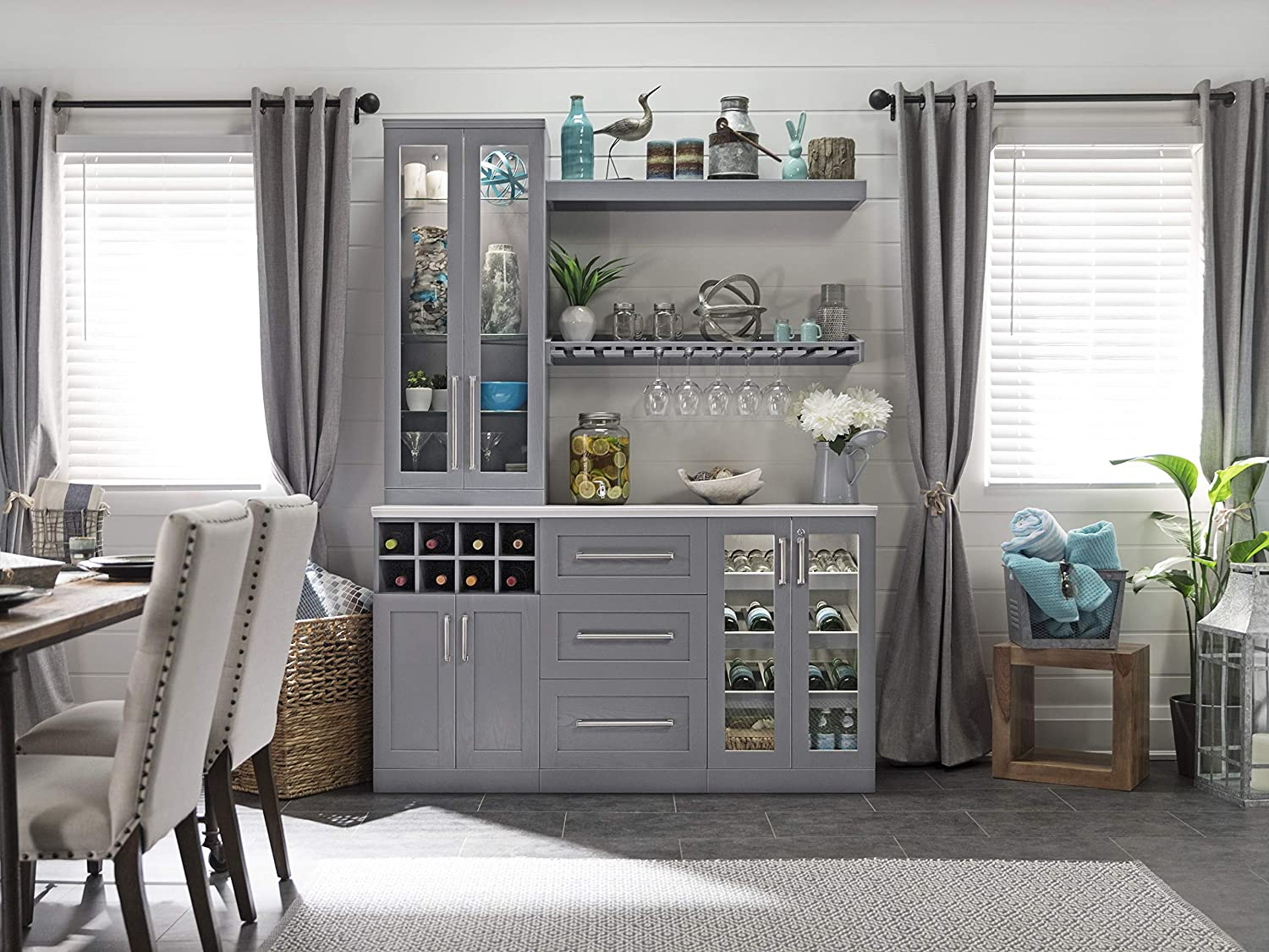 Amazon Com Newage Products Home Bar Gray 7 Piece Cabinet Set 21 61316 Home Improvement