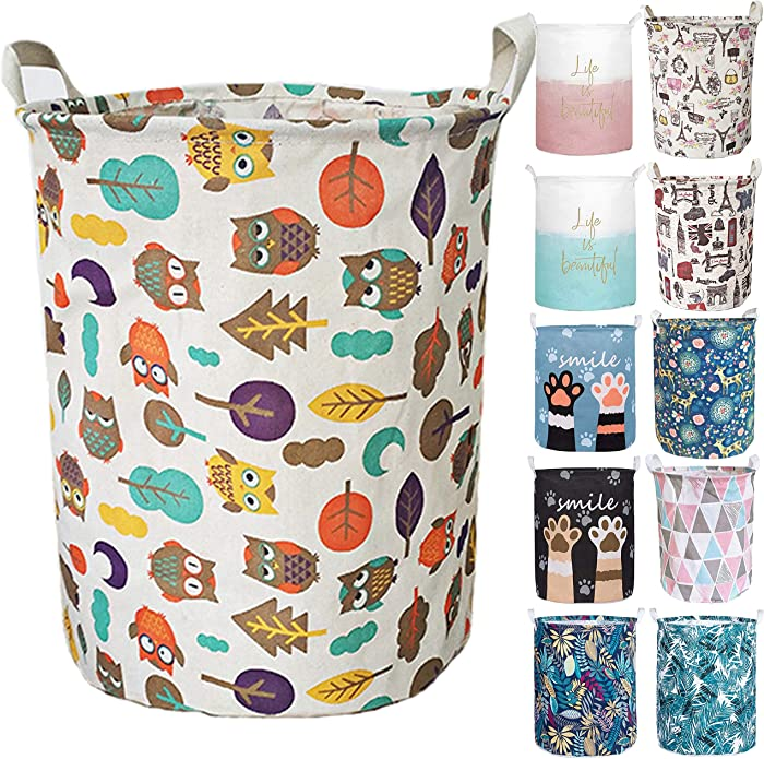 Aouker Merdes 19.7'' Waterproof Foldable Laundry Hamper, Dirty Clothes Laundry Basket, Linen Bin Storage Organizer for Toy Collection (Owl)