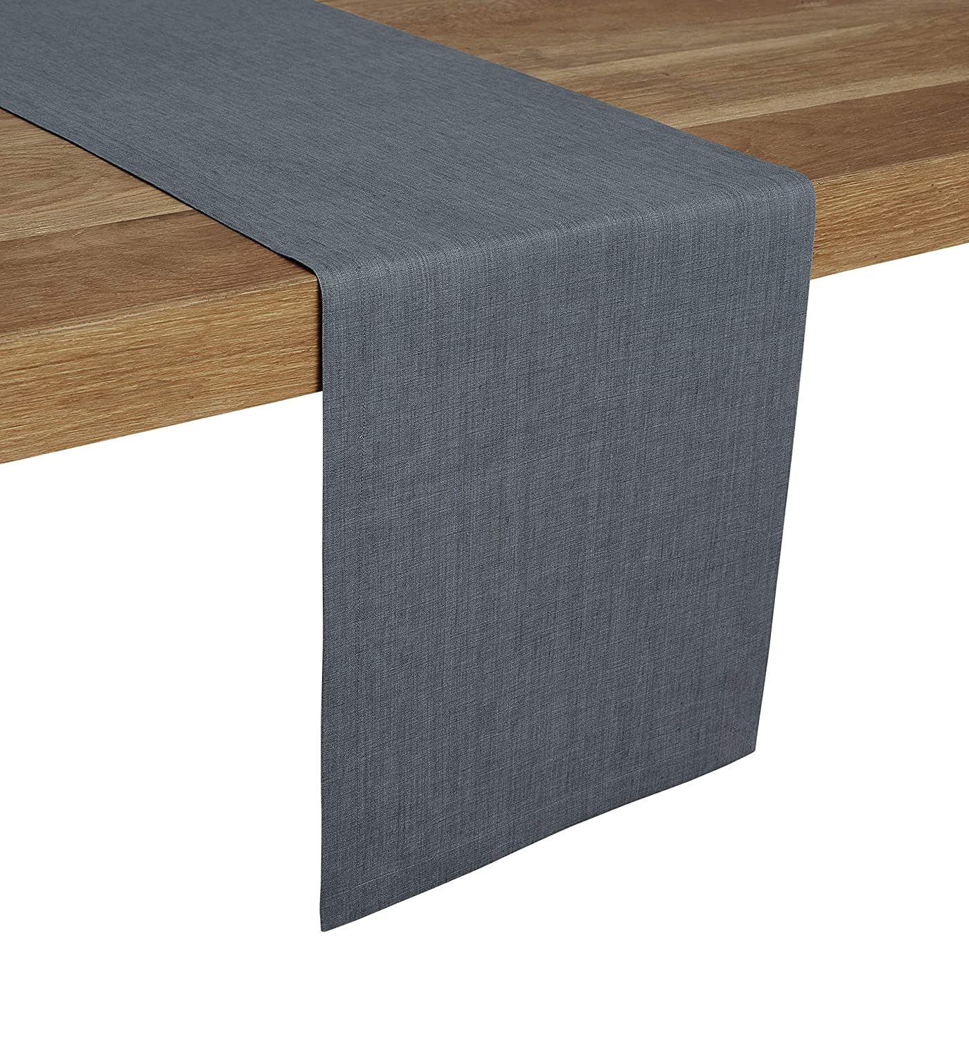 Tesoro Runner Natural and Handcrafted from European Flax Light Graphite Solino Home 100/% Pure Linen Table Runner 14 x 36 Inch