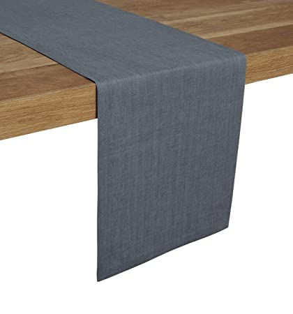 044cfdcb7412f Solino Home 100% Pure Linen Table Runner – 14 x 120 Inch, Tesoro Runner,  Natural and Handcrafted from European Flax – Grey